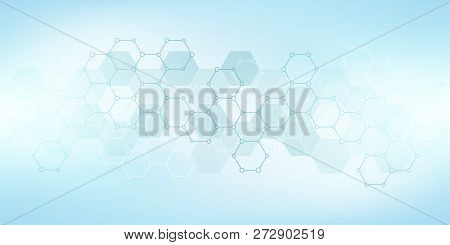 Geometric Abstract Background With Hexagons Elements. Medical Background Texture For Modern Design.