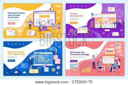 Seo Optimization Increase Of Conversion Web Pages Set With Text Sample Vector. Algorithmization And