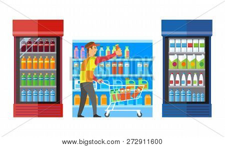 Supermarket Shop With Fridges And Beverage Drinks Vector. Male Worker Putting Plastic Bottles On She