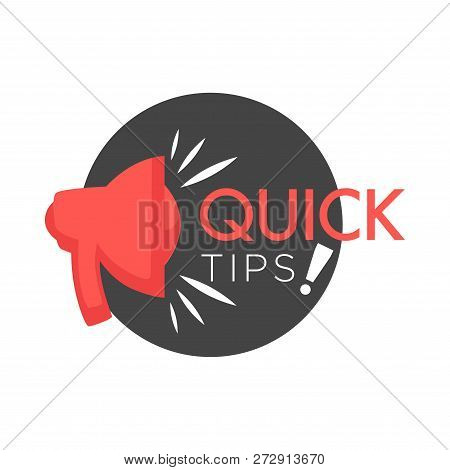 Quick Tips Poster Giving Advice. Hand Gesture And Headline Placed In Black Block