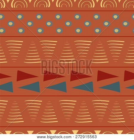 Vibrant Orange, Red, Blue Seamless Vector Pattern With Hand Drawn Elements. Bright Tribal Feel. Grea