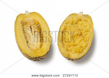 Cooked spaghetti squash on white background