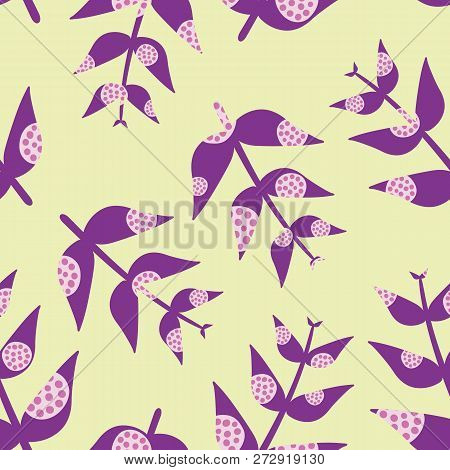 Contemporary Purple Leaves With Modern Pink Overlay Circles O Pastel Green Background As A Seamless