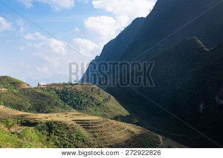 Stunning View On A House On Top Of A Hill In Northern Vietnam