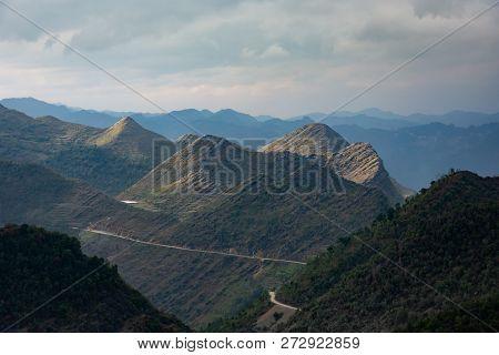 Mountain Range In Northern Vietnam Illuminated By The Sun