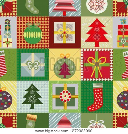 Cheerful Christmas Patchwork Style Seamless Vector With Multicolor Presents, Christmas Tree, Baubles