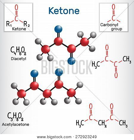 Diacetyl And Acetylacetone Molecule - Structural Chemical Formula And Model. Vector Illustration
