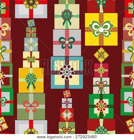 Stacks Of Bright Multicolor Christmas Presents In A Vertical Linear Seamless Vector Pattern On Warm