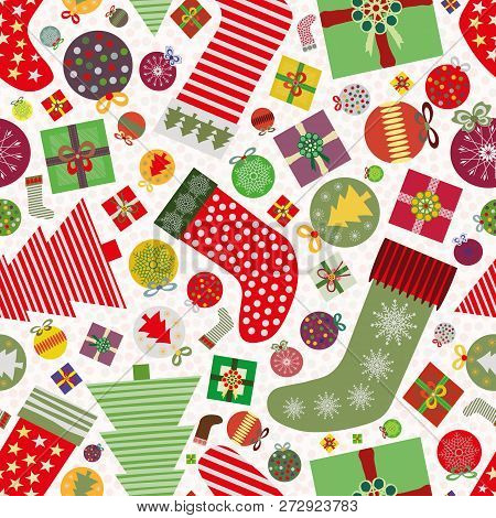 Funky Seamless Vector Pattern With Multicolour Christmas Baubles, Christmas Stockings And Presents O