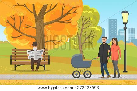 Autumn Park, Parents Walking With Pram And Elderly Man In Hat Reading Newspaper On Bench. Fall Leave