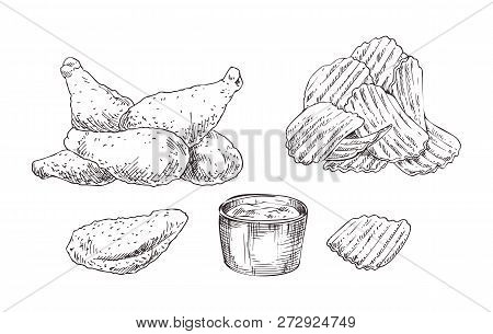 Appetizing Chicken Nuggets And Crispy Wavy Potato Chips With Dipping Sauce Jar Sketch Style Illustra