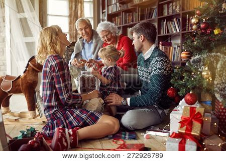 Christmas family portrait - Happy family together in Christmas