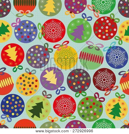 Funky Bright Seamless Vector Pattern With Multicolor Christmas Baubles On Subtly Textured Blue Backg