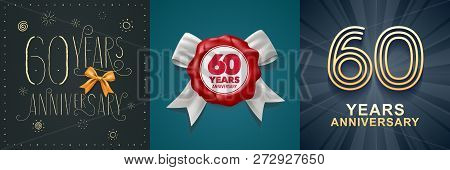60 Years Anniversary Celebration Set Of Vector Icons, Logo
