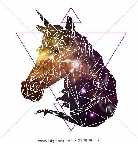 Abstract Polygonal Tirangle Fantasy Animal Unicorn On Open Space Background. Hipster Animal Illustra
