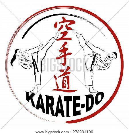 Vector Image Of Karatekas - Men And Women. Hieroglyphs - Karate: Way Of An Empty Hand. High Kick. Ja