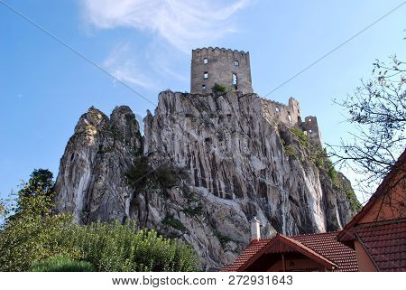 Ruins Of The Old Beckov Castle In Slovakia. Built In The 13th Century