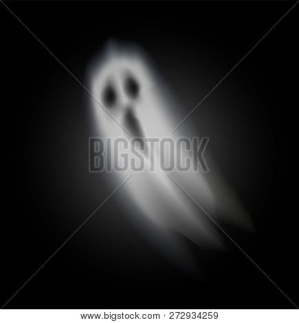 Ghost Of Halloween With Opened Mouth And Scary Eyes Isolated Icon Vector. Dark Creature From Outer W