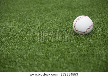This Is An Image Of A Baseball On Green Grass