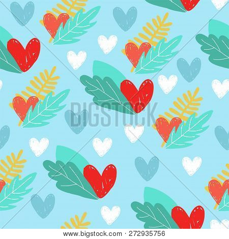 Hearts Seamless Pattern Background, Ideal For Celebrations, Wedding Invitation, Mothers Day And Vale