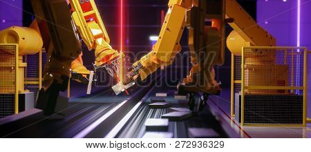 Smart Automation Industry Robot In Action - Industry 4.0 Concept - 3d Render