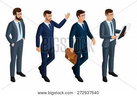 Isometry Icons Of The Emotions Of Men, 3d Business Men, Ceo, Lawyer. Expression Of Face, Hairstyle.