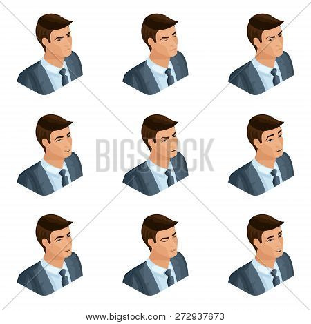 Isometry Of The Head Of The Hairdo Businessman, 3d Face, Eyes, Lips, Man Emotions, Facial Expression