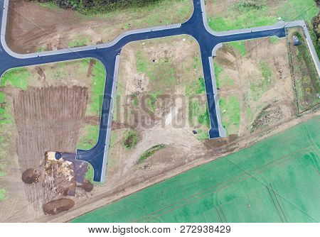 Aerial View Of Road Streets Guidelines New Development Area For Real Estate Mome Building Arable Are