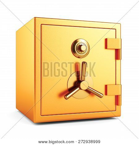 Locked Metal Bank Safe On White Background