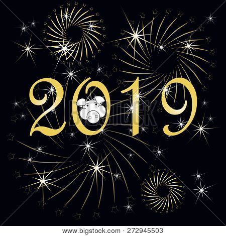 Typography Banner Gold  2019, Happy New Year, Pig Congratulation Card On On Black Stock Vector Illus