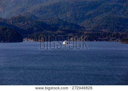 Ferry Entering Snug Cove, Bowen Island - Howe Sound, Bc