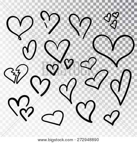 Hearts Hand Drawn Set Isolated. Design Elements For Valentine S Day. Collection Of Doodle Sketch Hea