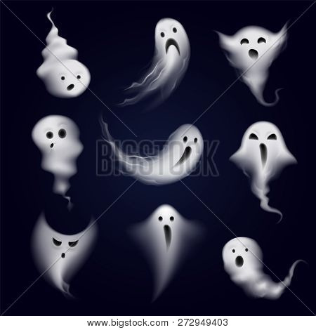 Scary And Funny Ghost Emotions Icons Collection Formed By Realistic Steamy Vapor Spooks Dark Backgro
