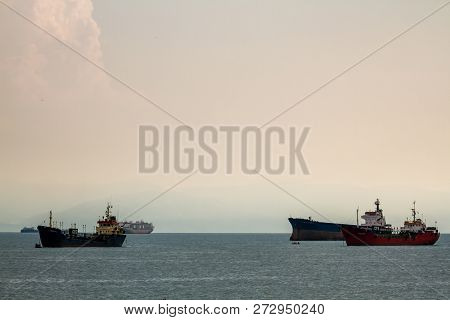 Cargo Ships Anchored Off Shore In Pendik, Istanbul