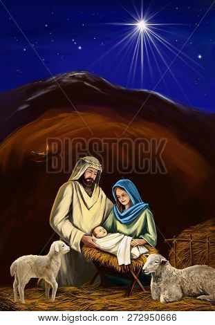 Christmas Story. Christmas Night, Mary, Joseph And The Baby Jesus, Son Of God , Symbol Of Christiani