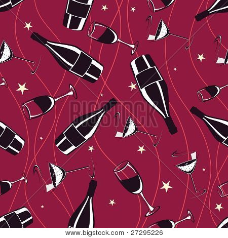 Seamless red pattern with champagne bottle & wine glass on wave background for Party, New Year & Other occasions.