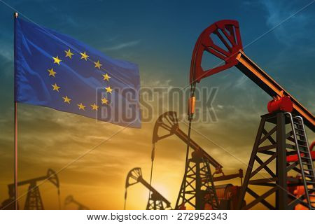 European Union Oil Industry Concept, Industrial Illustration. Fluttering European Union Flag And Oil