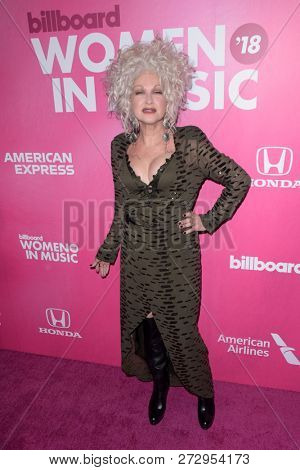NEW YORK - DEC 6: Cyndi Lauper attends Billboard's 13th Annual Women in Music event on December 6, 2018 at Pier 36 in New York City.