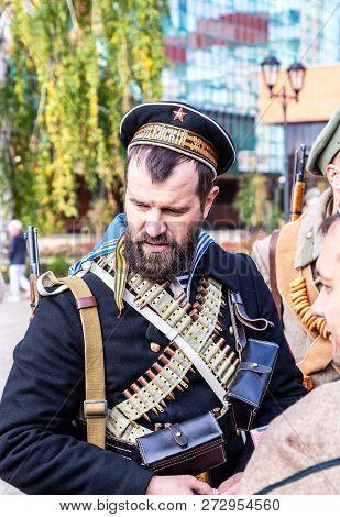 Samara, Russia - October 6, 2018: Unidentified Members Of Historical Reenactment Battle In The Russi