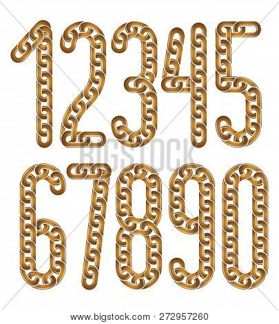 Set Of Vector Numerals From 0 To 9. Elegant Business Numbers For Use As Poster Design Elements. Crea