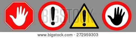 Danger Icon Set Designed With Simple Style. Flat Danger Symbol Collection. Control And Rules Pictogr