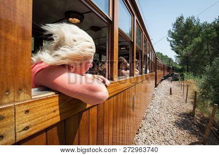 Mallorca, Spain - July 20, 2013: Railway Of Soller (ferrocarril De Soller)