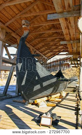 Drakkar Is The Oldest Legendary Viking Ship Of Life-size Under A Canopy In A Historic Architectural