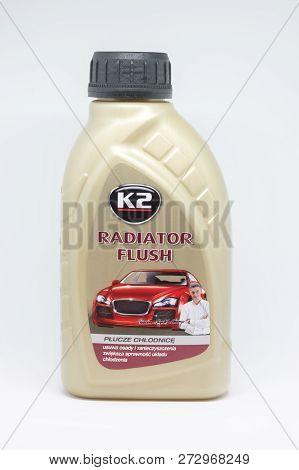 Pruszcz Gdanski, Poland - December 8, 2018: K2 Radiator Flush  For Clean Car Radiator. Fluid That Re