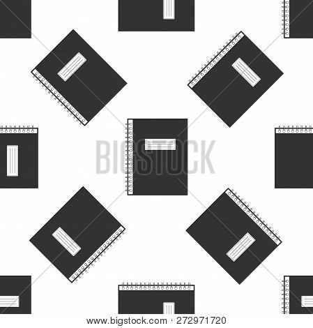 Notebook Icon Seamless Pattern On White Background. Spiral Notepad Icon. School Notebook. Writing Pa