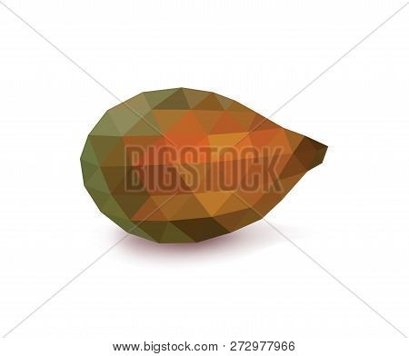Polygonal Salacca Or Zalacca Fruit, Low Poly Salak Fruit, Isolated On White Background