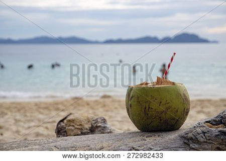 Green Coconut With The Straw On Sea Beach Sand. Coconut Drink On Tropical Seashore. White Sand Beach