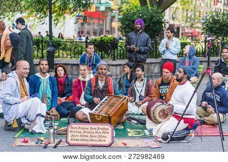 New York, Usa - June 3, 2018: Hare Krishna Followers Playing Music In Union Square. Manhattan Street