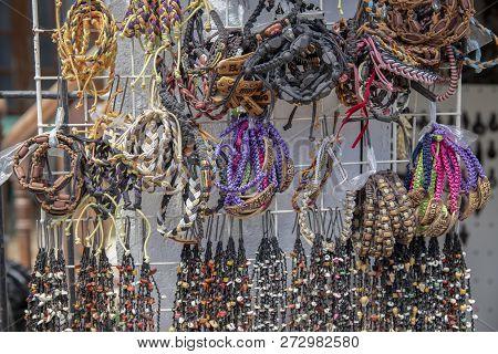 El Nido, The Philippines - 22 Nov 2018: Handmade Rustic Bracelets For Sell On Display. Native Handma