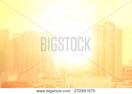 Blurred City Town Landscape, Pollution City Sun Light Soft Background, Building And City Landscape U
